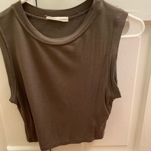 Army Green Muscle Crop Top